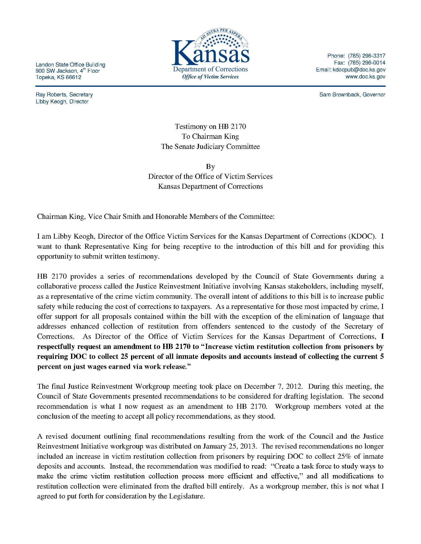 Testimony On Hb 2170 Kansas Department Of Corrections