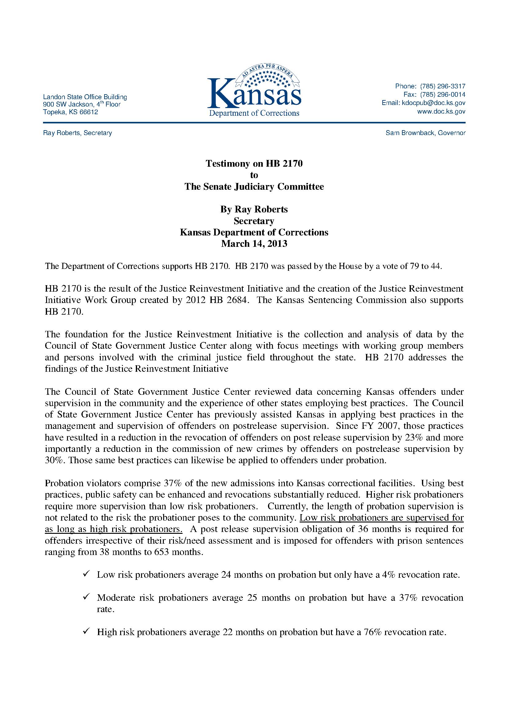 Testimony on HB 2170 - Kansas  Department of Corrections